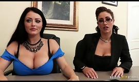 Johnny Sins is shared by two busty brunettes in a job interview porn video