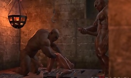 BRUTAL ORGY IN THE DUNGEON. No one knows about Selina's passion. 3D animation